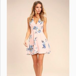 Garden Walk Blush Pink Floral Print Lace-Up Dress